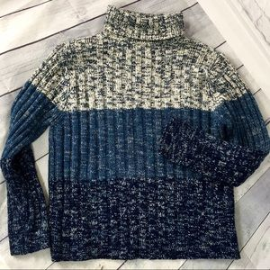 Chunky rib knit blue heather turtleneck sweater